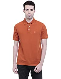 CHKOKKO Polycotton Polo Neck Half Sleeves Plain T Shirt For Men