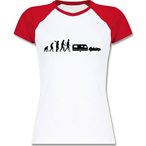 Shirtracer Evolution - Evolution Camper Wohnwagen - Zweifarbiges Baseballshirt/Raglan T-Shirt für Damen Weiß/Rot