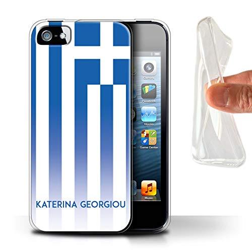 eSwish Personalisiert Individuell National Nation Flagge 3 Gel/TPU Hülle für Apple iPhone 5/5S / Griechenland/Griechisch Design/Initiale/Name/Text Schutzhülle/Case/Etui