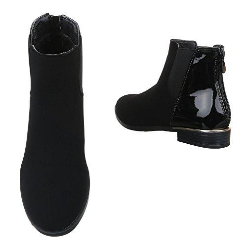 Damen Boots Schuhe Stretch Chelsea Boots Stiefeletten Schwarz Blau Rot 36 37 38 39 40 41 Schwarz
