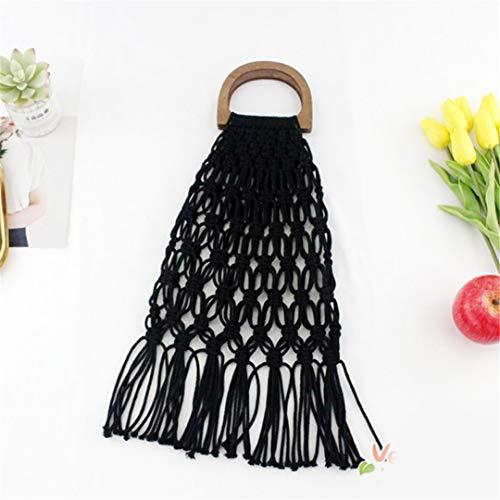 Handgefertigte Baumwolle Woven Holz Griff Damen Handtaschen Und Geldbörsen Hohlseil Quaste Strand Net Stroh Tote Black no Lining