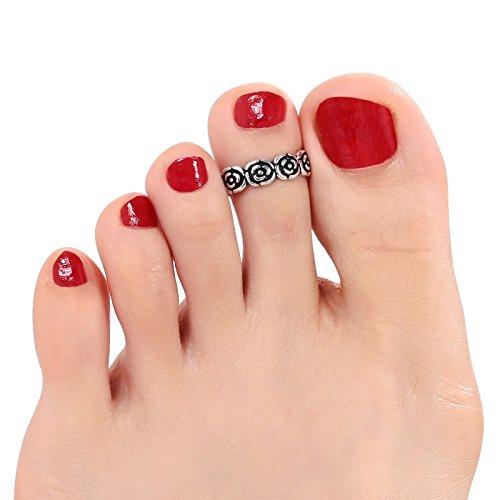 AmDxD Damen Versilbert Fußring Klein Fußabdruck Sommer Zehenring 1.5CM Durchmesser Einstellbarer Ring