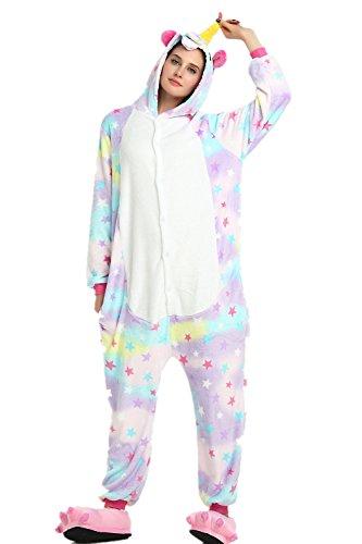 Missley-Combinaison-cosplay-unisexe-pour-adultes-Combinaison-cosplay-Pyjamas-de-licorne-Vtements-Flanelle-Costume-de-Halloween-Dguisement-Soire-S-Star