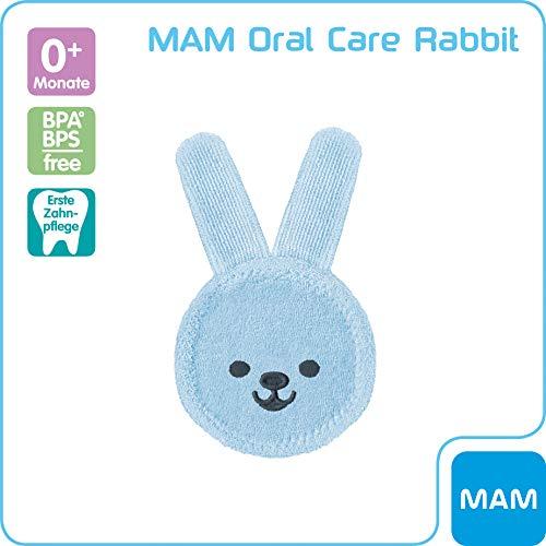 MAM Oral Care Rabbit für Baby's erste Mundhygiene, sanfte Zahnpflege mit weichem Mikrofaser-Material, Babys an die tägliche Mundreinigung gewöhnen, ab 8+ Monate, blau