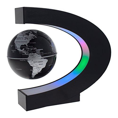 Smartfox Schwebender schwarzer Globus Weltkugel magnetisch Dekoration mit LED ca. 17cm hoch