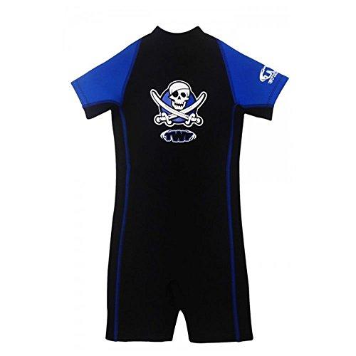 TWF Kinder Kinder Junge Mädchen Neopren Sommer Shorty UV-Sonne Geschützt Neoprenanzug Badeanzug Piraten Seepferdchen Gr. 7-8 Jahre Art Alter, Blue Pirate