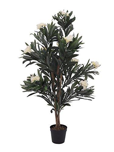 artplants Künstlicher Oleander MINOU, weiß, 120 cm – Kunstbaum/Deko Baum