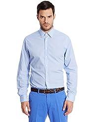 Hackett London Diamond Print -  Camisa casual para hombre Blanco / Azul talla L