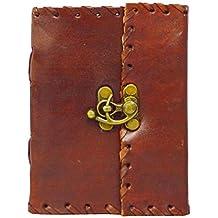 Zap Impex® hecha a mano de piel Journal Diario Cuaderno Bloc De Dibujo con vaciado Papel de cuaderno (5x 4)