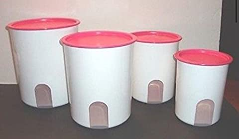 Tupperware Reminder Canister Set Pink Punch Seals by Tupperware