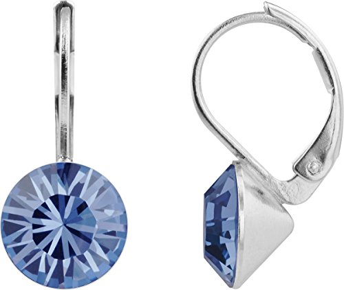 petra kupfer Damen Ohrringe Ohrhänger Rivoli 1 Swarovski®-Kristall 9 mm Jeans Blau Denim Blue Versilbert hk39tb-denim-blue