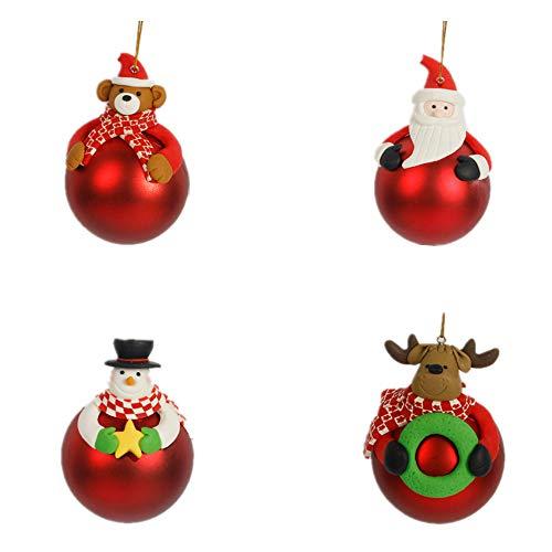 Morbuy Weihnachtskugel Ornamente, Bär Weihnachtsmann Schneemann Hirsch Deko Hänger für Festen...