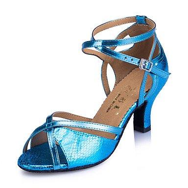 Silence @ Chaussures de danse pour femme en cuir Cuir latine/moderne des chaussures Chunky Talon Practise bleu