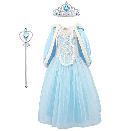 URAQT Girls Snow Queen Party Outfit Fancy Elsa Dress Costume Princess Cosplay + Set of Crown And Wand for 6-7 Years
