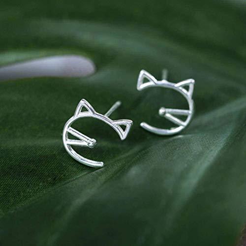 E-H Ohrring Dangler Eardrop Bolzenohrrings Verspielt Nette Katze Kreative Kätzchen S925 Silber Ohrringe Student Schmuck Geschenk Mädchen für Frauen -