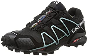 Salomon Women Speedcross 4 Gtx Training Running Shoes, Black (Black/Black/Metallic Bubble Blue), 4 UK 36 2/3 EU