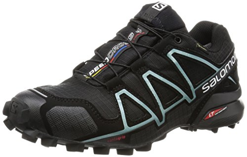 Salomon L38318700, Zapatillas de Trail Running para Mujer, Negro (Black/Black/Metallic Bubble Blue), 40 EU
