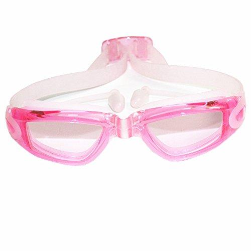 - Moocevill - Professionelles Silikon transparent Schwimmbrille Anti-Fog-UV Kinder Sportbrillen Schwimmbrillen mit Ohrhörern für Kinder [Transparent Pink]