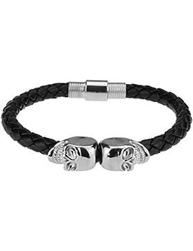 DON STILO ® Armband mit Totenköpfen   Double Skull