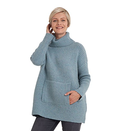 Womens Lambswool Chunky Roll Neck Jumper Frosted Green, L (Green Pullover Wool)
