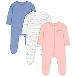 Mothercare G Lovely Bunny 3pk Sleepsuits Pijama, ((Multi 1), 12-18 Months (Size:86) para Bebés