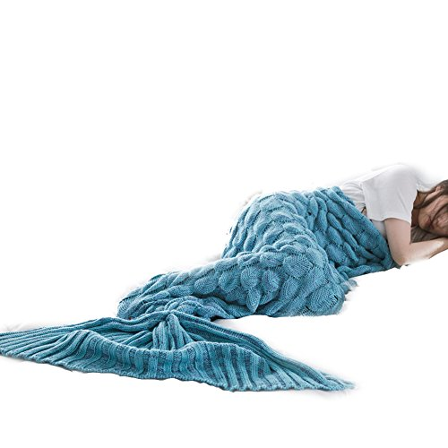 Knitting Girl Ladies Costume Mermaid Fish Tail Tail Handmade Blanket Crochet Adults Sleeping Bag Blanket Length 180-190cm, width 90cm Green (Ladies Dress Kostüme Fancy Niedliche)