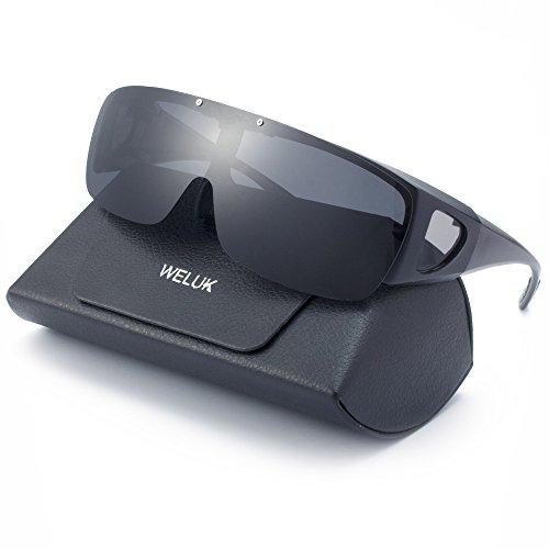 WELUK Überbrille mit polarisierten Flip-Up-Linsen für Männer und Frauen, UV 400 Überziehbrille für Brillenträger Fit-over Polbrille