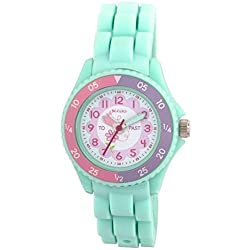 Tikkers Children's Girls Aqua Green Flowers Theme Silicone Time Teacher/Tutor Watch - NTK0004