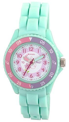 Tikkers Children's Girls Aqua Green Flowers Theme Silicone Time Teacher/Tutor Watch – NTK0004