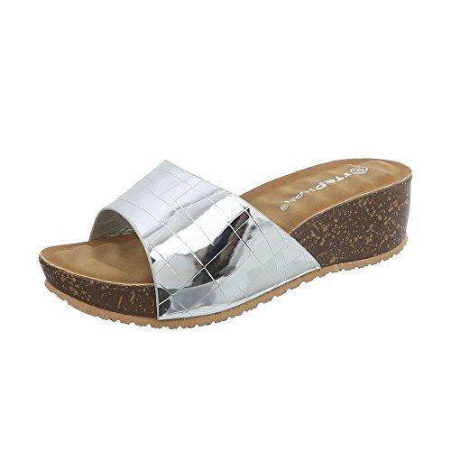 Ital-Design Pantoletten Damen-Schuhe Keilabsatz/Wedge Keilabsatz Sandalen Sandaletten Silber, Gr 38, A-93-