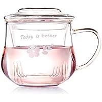 Taza De Té Vaso De Vidrio Con Manejar Tapa Filtro Transparente Resistente Al Calor Familia Oficina