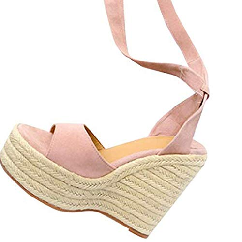 COZOCO Damenmode Open Toe Schuhe Wedges Thick Bottom Schnür-Strandschuhe Römersandalen(beige,43 EU) -