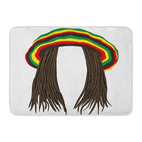 LIS HOME Fußmatten Badteppiche Outdoor/Indoor Fußmatte Bunte Rastafarian Jamaican Rasta Hut Haar Dreadlocks Reggae Lustige Avatar Jamaica Badezimmer Dekor Teppich Badematte (Hüte Jamaican)
