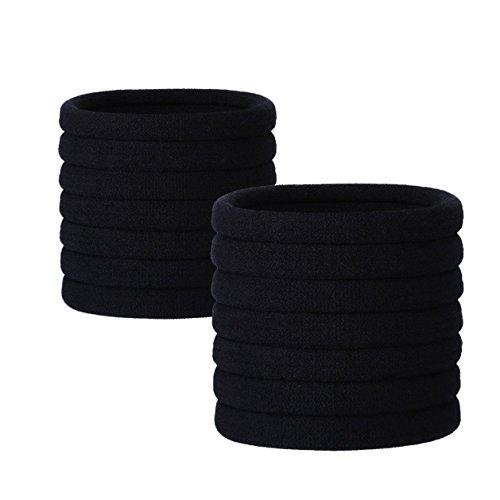 guides de queue de cheval – 24 Pièces Large Coton stretch Cheveux cravates Queue de cheval Supports Bandeau pour cheveux épais et frisés (Noir)