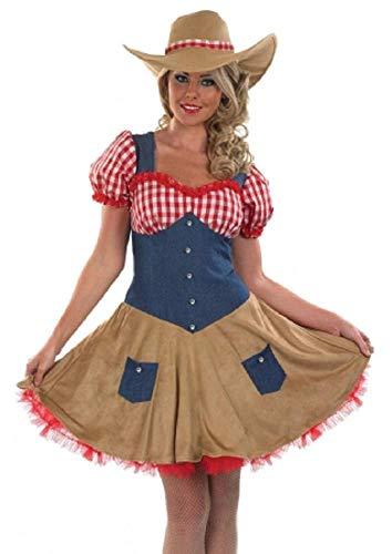 Fancy Me Damen Sexy Cowgirl Cowboy Wilder Westen Kostüm Kleid Outfit UK 8-30 Übergröße - Braun, 12-14