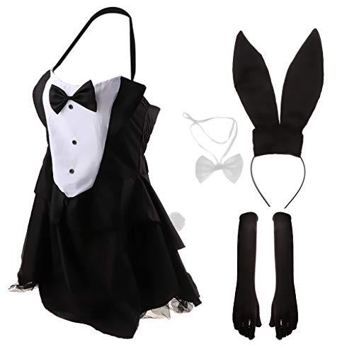 FLAMEER Vestito della Tuta della Tuta del Costume della Coniglietta della Donna Vestito Operato dalla Cravatta della Prua dell'Arco