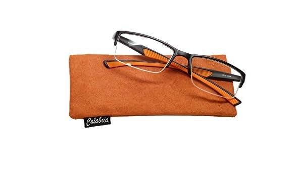 5c797261c4 Calabria Calabria 6904 Semi-Rimless Flexie Reading Glasses in Orange +1.00   Amazon.in  Clothing   Accessories