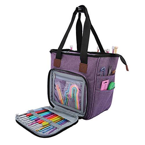 alsu3luy02Ld, tragbare Aufbewahrungstasche für Strickgarn, Handtasche, Häkelnadeln, Näh-Organizer, Blau, violett (Violett) - alsu3luy02Ld_Travel Toiletry Bag