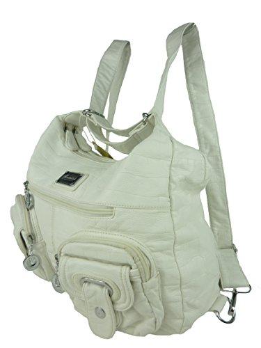 NANCY Rucksacktasche, 2in1 Rucksack und Schultertasche, Batik, 37x31x14cm (schwarz) weiß