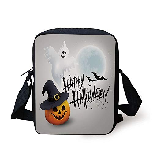 Halloween,Happy Celebration Typography Stained Look Cute Ghost Pumpkin Hat Print Decorative,White Black Orange Print Kids Crossbody Messenger Bag Purse (Halloween Happy Corgi)