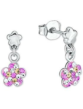 Prinzessin Lillifee Kinder-Ohrhänger Blume 925 Silber rhodiniert Kristall mehrfarbig - 2013166