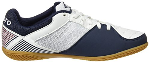 Umbro Sala Liga Ic Ad, Chaussures de Football Amricain Homme Blanco / Dark Navy / Vermillion