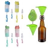 Gytech 4 Stück Schwamm + Nylon Borsten Reinigungsbürste mit Kleinen Pinsel zum Waschen Glas Baby Bottle Cup und 1 Stück Silikon Faltbare Trichter, zufällige Farbe
