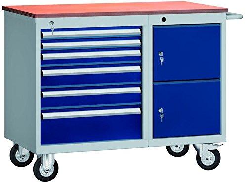 Metall-Meister Werkbank fahrbar 1000x 620 x 830 mm LxTxH mit 6 Schubladen und 2 Schrankfächer Modell WS826N-1000M20-E1902