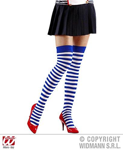 Kostüm Girl Frauen Für Sailor (1 Paar STRÜMPFE - GERINGELT - Größe XL, weiß blau geringelt, Matrosin Matrose Marine Hafen Sailor)