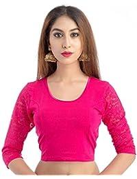 "Fressia Fabrics Women's Cotton Lycra Stretchable Readymade Saree blouse XXL (38""-44"" inches) 107XXL"