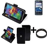 K-S-Trade® Case Schutz Hülle Für -Crosscall Core X3- + Bumper Handyhülle Flipcase Smartphone Cover Handy Schutz Tasche Walletcase Schwarz (1x)
