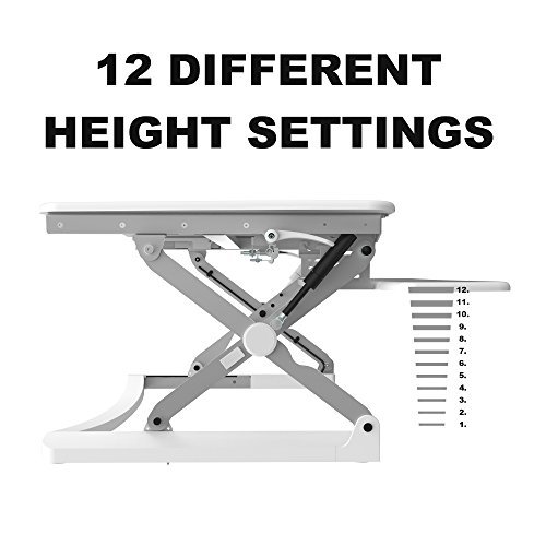 FlexiSpot 35″ (89cm) M2W Height Adjustable Standing Desk Riser,wide sit Stand Up Desk converter with wider keyboard tray(White)
