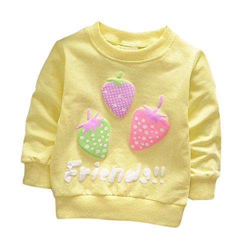 Cartoon Erdbeer Kirsche Print T-Shirt Kleinkind Kind, DoraMe Baby Jungen Mädchen Lange ärmel Pullover Warme Bluse O-Ausschnitt Sweatshirt für 0-3 Jahr (A-Gelb, 6 Monate) (Lange Baumwolle Weste Ärmel)
