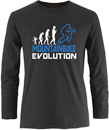 EZYshirt® Mountainbike Evolution Herren Longsleeve Schwarz/Weiss/Blau